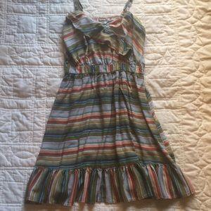 Multicolor Striped Spaghetti Strap Dress